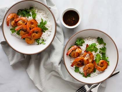 Bourbon and Honey Garlic Shrimp