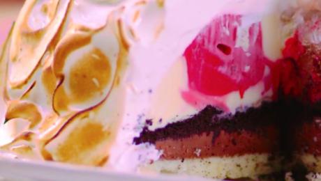 baked alaska with honey italian meringue